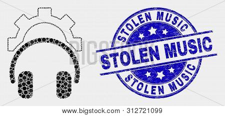 Dotted Gear Headphones Mosaic Pictogram And Stolen Music Stamp. Blue Vector Round Scratched Stamp Wi