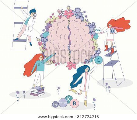 Healthy Brain Vector With Flowers On The Background. Four Doctors And Nurses Looking For The Right V