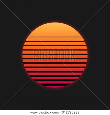 80s Sunset Retro Neon Background. 90s Poster Electro Sun Space Vintage Grid Sunset Icon. Vector Illu