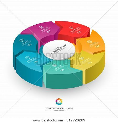 Infographic Isometric 3d Process Chart. Cycle Diagram With 7 Stages, Options, Parts. Can Be Used For