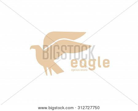 Geometric Logotype With Silhouette Of Flying Eagle. Logo With Carnivorous Bird, Avian. Modern Decora