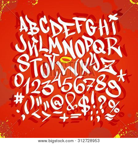 Handwritten Graffiti Font Alphabet. Vector Illustration On Red Background