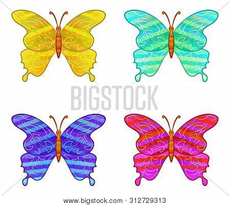 Set Of Colorful Butterflies With Pattern Wings, Isolated Icons On White. Eps10, Contains Transparenc
