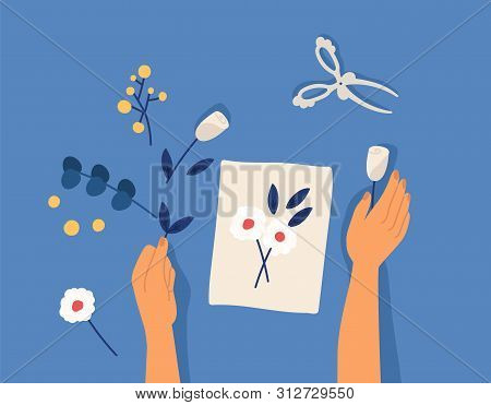 Hands Creating Decorative Craftwork Or Handiwork - Flower Applique, Herbarium, Scarpbooking. Creativ