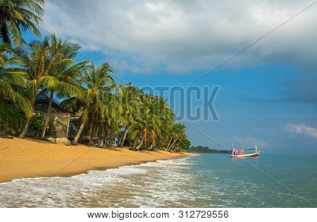 Samui Maenam Morning Beach With Coconut Palms Under Sky, Idyllic Landscape