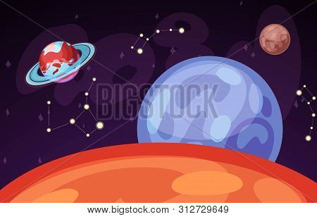Space And Planet Landscape Vector Illustration. Planets Surface With Craters, Stars And Comets In Da