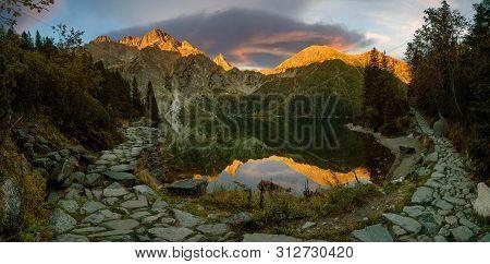 Tourist Trail Around The Mountain Lake Morskie Oko In The Tatras