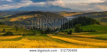 Panorama Of The Most Beautiful Part Of The Polish Foothills From The Sromowce Village In Pieniny