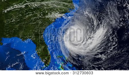 Hurricane Approaching The Us Coast .elements Of This Image Are Furnished By Nasa.3d Illustration