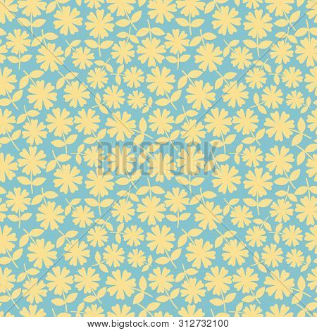 Elegant Yelllow Flowers In Ditsy Floral Design. Seamless Vector Pattern On Aqua Blue Background. Gre