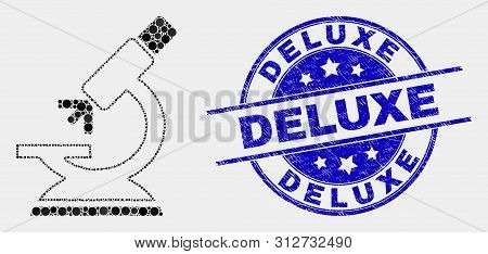 Dotted Microscope Mosaic Pictogram And Deluxe Stamp. Blue Vector Rounded Distress Stamp With Deluxe