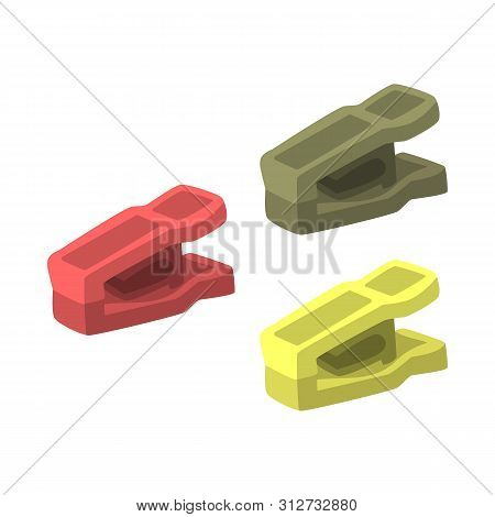 Isolated Object Of Peg And Clothespeg Sign. Collection Of Peg And Laundry Vector Icon For Stock.