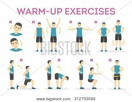 Warm-up Exercise Set Before Workout. Stretch Muscles