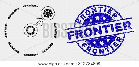 Pixel Move To Circle Perimeter Mosaic Icon And Frontier Seal Stamp. Blue Vector Round Distress Seal
