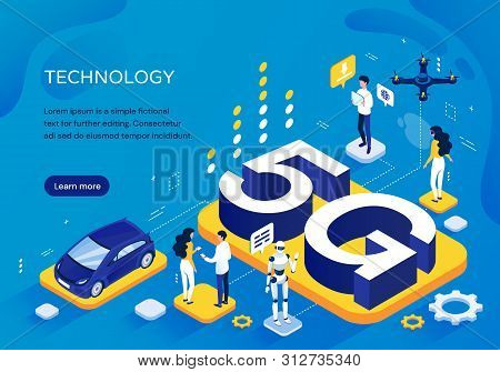 5g Cellular Network Concept, Pictographic Template For Increased Speed Of Communication With People