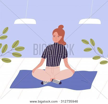 Woman With Closed Eyes Sitting Cross Legged And Meditating. Business Meditation, Relaxation At Offic