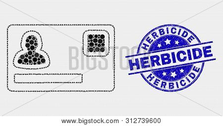 Pixel Personal Credit Card Mosaic Icon And Herbicide Seal Stamp. Blue Vector Round Scratched Seal St