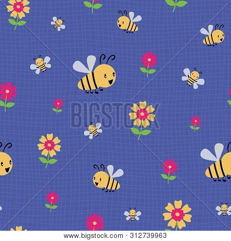 Cute Cartoon Honey Bees And Flowers On Subtle Doodle Grid. Seamless Vector Pattern On Deep Blue Back