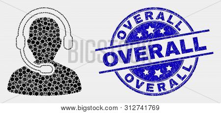Pixel Radio Operator Mosaic Icon And Overall Seal Stamp. Blue Vector Rounded Scratched Stamp With Ov