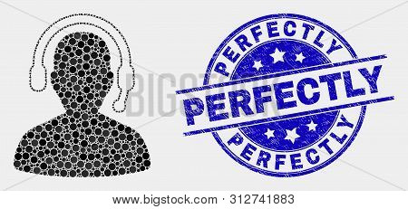 Dot Radio Operator Mosaic Pictogram And Perfectly Stamp. Blue Vector Round Grunge Stamp With Perfect