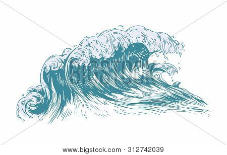 Stylish Drawing Of Sea Or Ocean Wave With Foaming Crest Isolated On Light Background. Oceanic Storm,