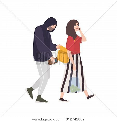 Thief, Pickpocket Or Rubber Dressed In Hoodie Stealing Wallet Or Purse From Womans Bag. Criminal Com