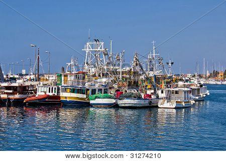 Fishing Boats Fleet In Harbor