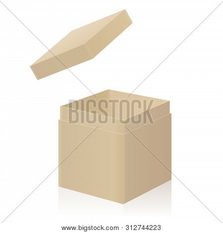Cardboard Box With Extra Detachable Open Lid To Put On. Isolated 3d Vector Illustration On White Bac