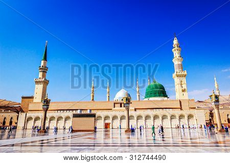 This Holy Masjid Located In The City Of Madinah In Saudi Arabia. It Is The One Of The Largest Mosque