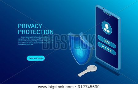 Banner Protect Data And Confidentiality On Mobile. Privacy Protection And Security Are Confidential.