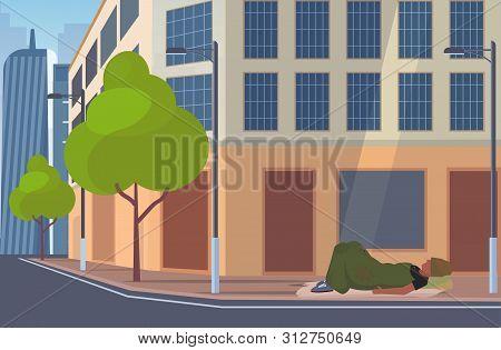 Man Beggar Covered With Blanket Sleeping Outdoor On City Street Tramp Lying On Floor Homeless Jobles