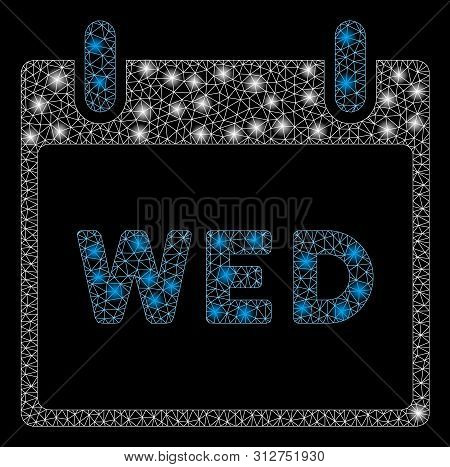 Glowing Mesh Wednesday Calendar Page With Sparkle Effect. Abstract Illuminated Model Of Wednesday Ca