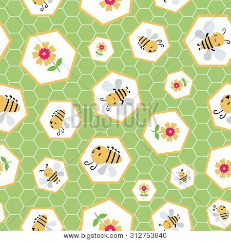 Cute Cartoon Honey Bees And Flowers In Random Honeycomb Design. Seamless Vector Pattern On Green Hex
