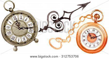 Vintage Old Clock Pocket Watch. Watercolor Background Illustration Set. Isolated Clocks Illustration