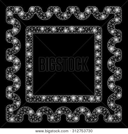 Glowing Mesh Postal Mark With Sparkle Effect. Abstract Illuminated Model Of Postal Mark Icon. Shiny