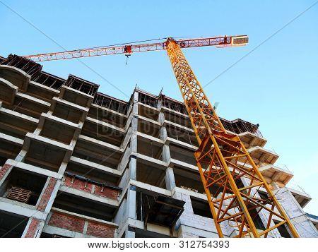 Construction Site Background. Crane Near Building. Building Under Construction.