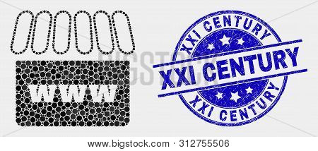 Pixel Webshop Mosaic Pictogram And Xxi Century Seal Stamp. Blue Vector Round Distress Seal With Xxi