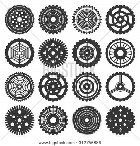 Vector Illustration Of Gears Set In Steam Punk Style. 16 Isolated On White Cogwheels Silhouettes. Fu