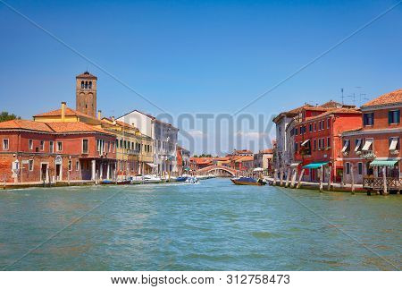 View On Murano Canals In Sunny Day, Venice, Italy
