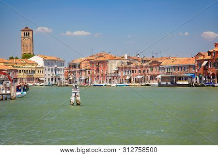 View On Murano Canals With Green Water,  Venice, Italy.