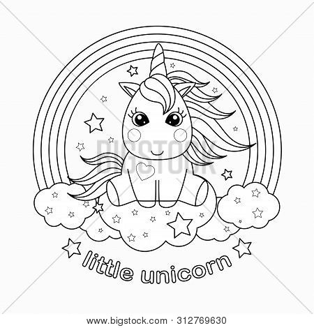 Small, Cartoon Unicorn. Black And White Vector Illustration For Coloring Book.