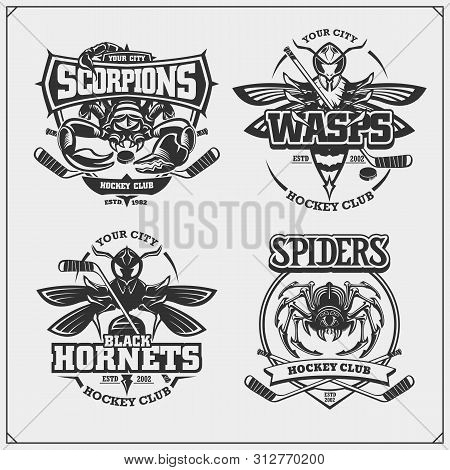 Hockey Badges, Labels And Design Elements. Sport Club Emblems With Scorpion, Wasp, Hornet And Spider
