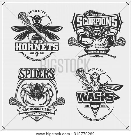 Set Of Lacrosse Badges, Labels And Design Elements. Sport Club Emblems With Scorpion, Wasp, Hornet A