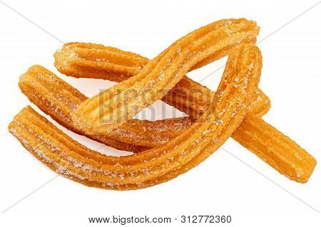 Churros Isolated On White Background. Traditional Mexican  Cusine. Churro Close Up