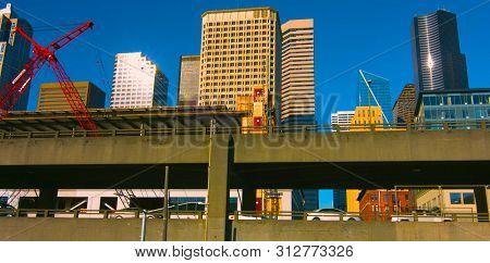 Seattle, Washington, Usa (mai 9, 2019) Downtown Seattle,graphic Modern Seattle Downtown Skyscrapers