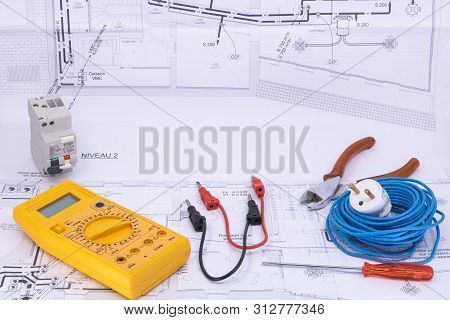 Electrician Occupation Graphic Resource With House Plan And Electricity Equipment For Electrician