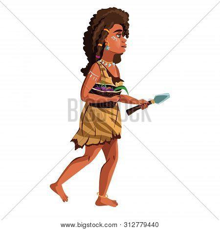 Ancient Caveman Woman Vector Cartoon Illustration. Female Character, Hunter And Gatherer Of Stone Ag