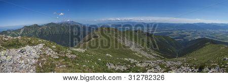 Panoramic View From Baranec Peak On Western Tatra Mountains Rohace, High Tatras And Low Tatras Panor