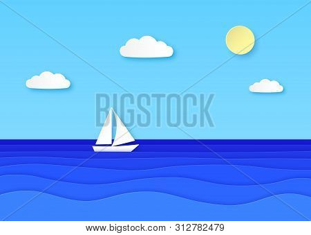 Paper Boat Floating Sea. Cloudy Sky With Sun, Sailboat With White Sail In Blue Ocean Waves. Summer V