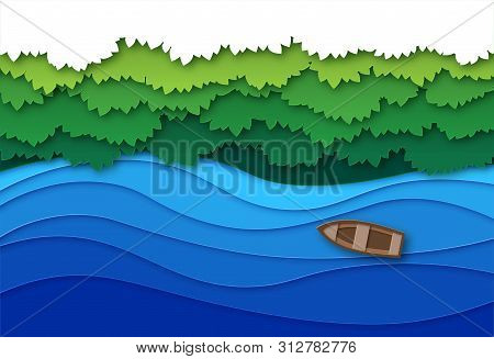 Paper Cut River. Top View Water Stream And Green Tropical Forest Trees Canopy. Creative Origami Natu